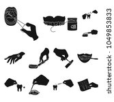 manipulation by hands black... | Shutterstock .eps vector #1049853833