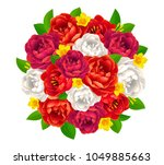vector red and white peonies... | Shutterstock .eps vector #1049885663