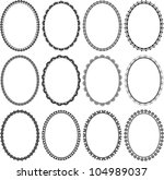 set of frames oval - stock vector