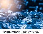 modern way of exchange. bitcoin ...   Shutterstock . vector #1049919707