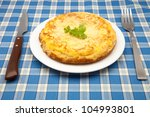potato omelet ready to eat - stock photo