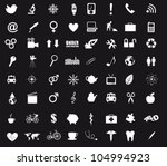 black and white icons isolated. ... | Shutterstock .eps vector #104994923
