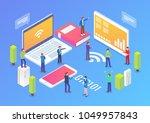 technology startup isometric... | Shutterstock .eps vector #1049957843