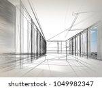 sketch design of interior hall  ... | Shutterstock . vector #1049982347