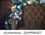 vintage sofa of soft brown... | Shutterstock . vector #1049998307