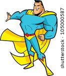 big chin smiling superhero in... | Shutterstock .eps vector #105000587