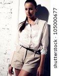 portrait of the beautiful model.... | Shutterstock . vector #105000677