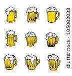 set of beer glasses with fresh... | Shutterstock .eps vector #105002033