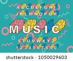 90's retro alphabet font.... | Shutterstock .eps vector #1050029603