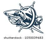 toothy great white shark... | Shutterstock .eps vector #1050039683
