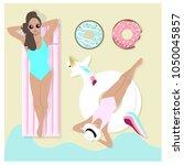 beautiful girls laying in a... | Shutterstock .eps vector #1050045857