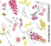 watercolor tropical pattern... | Shutterstock . vector #1050064667