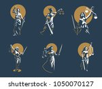 the goddess of justice themis.... | Shutterstock .eps vector #1050070127