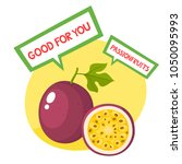 healthy organic fruits badge of ... | Shutterstock .eps vector #1050095993