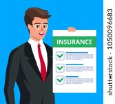 insurance claim form. man in... | Shutterstock .eps vector #1050096683