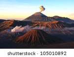 Volcanoes of Bromo National Park, Java, Indonesia . The second edition with the expanded dynamic range - stock photo