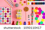set of colorful objects ftal lay | Shutterstock . vector #1050110417