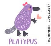 cute cartoon platypus... | Shutterstock . vector #1050115967