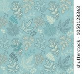 seamless pattern with leaf.... | Shutterstock .eps vector #1050128363
