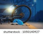 accident car crash with bicycle ... | Shutterstock . vector #1050140927