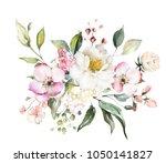 decorative watercolor flowers.... | Shutterstock . vector #1050141827