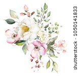 decorative watercolor flowers.... | Shutterstock . vector #1050141833