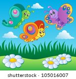 meadow with butterflies theme 1 ... | Shutterstock .eps vector #105016007