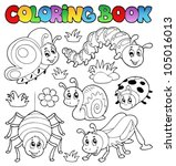 coloring book cute bugs 1  ... | Shutterstock .eps vector #105016013