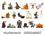 set of scary halloween... | Shutterstock .eps vector #1050166007