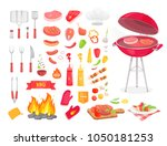 collection of bbq cutlery and... | Shutterstock .eps vector #1050181253
