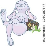 vector drawing of a lazy bunny | Shutterstock .eps vector #1050187547