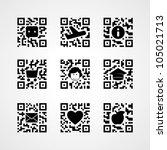 Qr Code Concept Icons Set