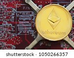 ethereum. crypto currency.... | Shutterstock . vector #1050266357
