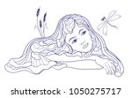hand drawn beautiful dreamind... | Shutterstock .eps vector #1050275717