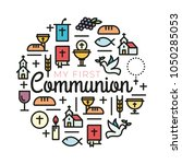 first communion symbols for a... | Shutterstock .eps vector #1050285053