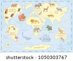 vintage world map with wild... | Shutterstock .eps vector #1050303767