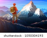 mountain everest with tourist ... | Shutterstock .eps vector #1050304193