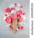flat lay waffle sweet ice cream ... | Shutterstock . vector #1050309233