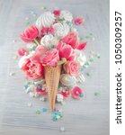 flat lay waffle sweet ice cream ... | Shutterstock . vector #1050309257