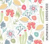 floral seamless pattern. hand... | Shutterstock .eps vector #1050314333