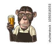 monkeys fast food worker... | Shutterstock .eps vector #1050318353