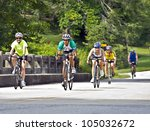 CLAYTON, GA - JUNE 9 : Unidentified cyclists in the annual Bicycle Ride Across Georgia, June 9, 2012, the Lake Burton area of Rabun County, Clayton, GA. - stock photo
