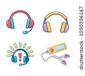headsets icon set. cartoon set... | Shutterstock .eps vector #1050336167