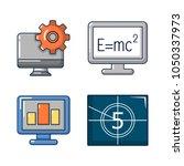 monitor lcd icon set. cartoon... | Shutterstock .eps vector #1050337973