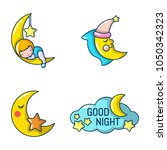 moon icon set. cartoon set of... | Shutterstock .eps vector #1050342323