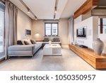 big  gray corner sofa standing...   Shutterstock . vector #1050350957