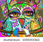 original abstract digital painting artwork of doodle owl, colored poster print pattern, vector illustration