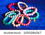 eight multi colored bracelets...   Shutterstock . vector #1050386567