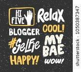 hi five relax blogger cool...   Shutterstock .eps vector #1050387347