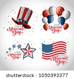 happy memorial day celebration... | Shutterstock .eps vector #1050393377